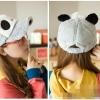 หมวกหมีแพนด้าขนปุย สีเทา