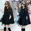 Pre-เสื้อโค้ทคลุมไหล่สไตล์เกาหลี สีดำ มีไซด์ S,M,L,XL