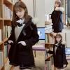 Pre-เสื้อโค้ทกันหนาวสไตล์นักเรียนญี่ปุ่น เกาหลี แต่งฮู้ดมีเฟอร์ สีดำ
