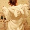พรีออเดอร์-เสื้อกันหนาวฮู้ดหูกระต่าย มีหาง สีขาว