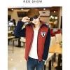 พร้อมส่ง-เสื้อแจคเกตผู้ชายสไตล์เกาหลี สีแดงเข้มน้ำเงิน ตัวหนา งานดี Size XL