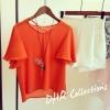 (SALE) เสื้อแฟชั่น ผ้าชีฟอง แขนทรงกระดิ่ง สีส้ม