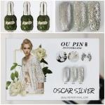 สีเจลทาเล็บ OU PIN ชุด3สี ชื่อโทนสี OSCAR SILVER พร้อมกรอบรูป เนื้อสีดี เข้มข้น คุณภาพเหนือราคา