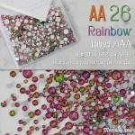 เพชรชวาAA สีรุ้งชมพูอมเขียว Rainbow รหัส AA-26 คละขนาด ss3 ถึง ss30 ปริมาณประมาณ 1300-1500เม็ด