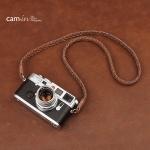 สายกล้องหนังแท้คล้องคอ หนังถัก สีน้ำตาล