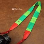 สายกล้องคล้องคอ cam-in Camelion ลายเขียวแดงกิ้งก่า