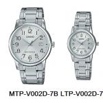 นาฬิกา คาสิโอ Casio SETคู่รัก รุ่น MTP-V002D-7B+LTP-V002D-7B ของแท้ รับประกัน 1 ปี