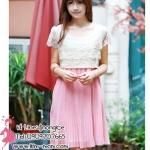 ชุดกระโปรงคลุมท้องผ้าซีฟองสีชมพูสุดน่ารัก