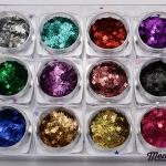 กากเพชรรูปดาว เรเซอร์ลายเส้น 12สี 12กระปุก กลิตเตอร์ 3D