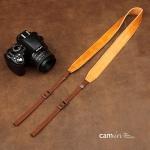 สายคล้องกล้องหนังแท้ cam-in Genuine Leather สีน้ำตาลเหลือง