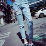กางเกงยีนส์ ขายาว แต่งขาดๆเซอร์ๆ