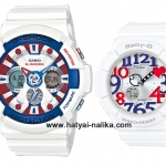 นาฬิกา คาสิโอ Casio G-Shock x Baby-G เซ็ตคู่รัก White Tricolor รุ่น GA-201TR-7A x BGA-130TR-3B Pair set ของแท้ รับประกัน 1 ปี
