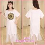 maxi dress สีขาวผ้ายืด ปลายชุดมุ้งมิ้งมาก ใส่แล้วสวยปังมากค่ะ ผ้าไม่บาง