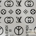 YM-K071 สติ๊กเกอร์สักแฟชั่น sticker tattoo ลายLV 15.5x10.8 cm