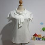 เสื้อ ผ้าไหมอิตาลี คอระบาย สีขาว ไซส์ XL อก 44 นิ้ว