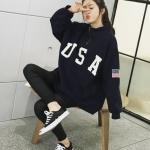 (ภาพจริง)เสื้อแฟชั่น แขนยาว ผ้าฝ้าย บุกันหนาว คอเต่าแต่งซิป ลาย USA สีน้ำเงิน