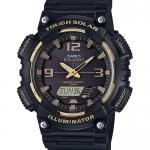 นาฬิกา คาสิโอ Casio SOLAR POWERED GOLD Color Acccent series รุ่น AQ-S810W-1A3V (ดำทอง) ของแท้ รับประกัน 1 ปี