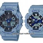 นาฬิกา คาสิโอ Casio G-Shock x BABY-G ลายยีนส์ เซ็ตคู่รัก Denim Fabric Elements series รุ่น GA-100DE-2A x BA-110DE-2A2 Pair set ของแท้ รับประกัน 1 ปี