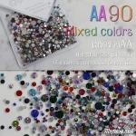 เพชรชวาAA คละสี Mixed colors รหัส AA-90 คละขนาด ss3 ถึง ss30 ปริมาณประมาณ 1300-1500เม็ด