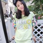 (ภาพจริง) เสื้อแฟชั่น คอกลม แขนสั้น ลาย HERO สีเขียว