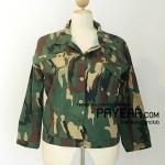 เสื้อคลุม ผ้าญี่ปุ่นพิมพ์ลายทหาร สีเขียวเข้ม อก 52 นิ้ว