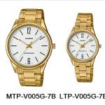 นาฬิกา คาสิโอ Casio SETคู่รัก รุ่น MTP-V005G-7B+LTP-V005G-7B ของแท้ รับประกัน 1 ปี