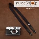สายกล้องคล้องคอ cam-in สีพื้นเส้นเล็ก สีดำ แบบห่วง 25 mm
