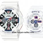 นาฬิกา คาสิโอ Casio G-Shock x Baby-G เซ็ตคู่รัก White Tricolor รุ่น GA-120TR-7A x BA-120TR-7B Pair set ของแท้ รับประกัน 1 ปี