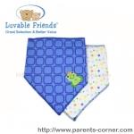 ผ้ากันเปื้อนสามเหลี่ยม Luvable Friends แพ็คคู่-กบ