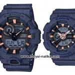 นาฬิกา คาสิโอ Casio G-Shock x BABY-G ลายยีนส์ เซ็ตคู่รัก Denim Fabric Elements series รุ่น GA-700DE-2A x BA-110DE-2A1 Pair set ของแท้ รับประกัน 1 ปี