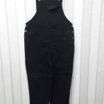 เอี๊ยมขายาว ผ้ายีนส์ สีดำ เอวจั๊ม 38-46 นิ้ว