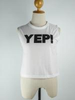 เสื้อแฟชั่น แขนกุด ลาย YEP สีขาว