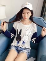 เสื้อแฟชั่น คอกลม แขนยาว ลายกระต่าย สีขาว