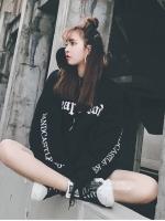 (ภาพจริง) เสื้อแฟชั่น มีฮูด แขนยาว บุกันหนาว ลาย SK สีดำ