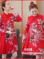 ชุดเดรสสีแดงพิมพ์ลายดอกไม้ ชุดแดงต้อนรับตรุษจีนจ้า