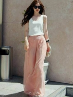 กางเกงแฟชั่น ขายาว ผ้าชีฟอง สีชมพู
