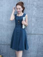 เดรสแฟชั่น คอกลม แขนกุด ผ้าผูกหลัง ผ้าไนล่อน สีน้ำเงิน