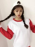 เสื้อแฟชั่นสไตล์ฮาราจูกุ แขนยาว บุกันหนาว สีทูโทน เสื้อสีขาวแขนสีแดง