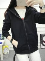 (ภาพจริง)เสื้อคลุมแฟชั่น มีฮูด แขนยาว บุกันหนาว ซิปหน้า สีดำ