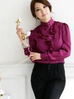 เสื้อแขนยาว ผ้าไหมซาติน สีม่วง ไซส์ 2XL