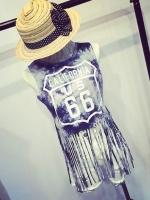 (SALE) เสื้อกั๊กสไตล์ฮาราจูกุ แต่งระบาย No.66 สีเทา