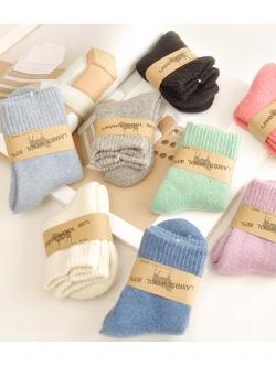C112-13 ถุงเท้าขนสัตว์กันหนาวรัดข้อ Lambs wool สำหรับเด็ก 1-3 ขวบ 12-15 cm รุ่นหนาพิเศษ