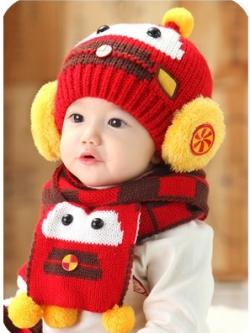 CN 96-94 set หมวก+ผ้าพันคอเด็ก ชุด 2 ชิ้น สำหรับเด็ก 1-4 ขวบ