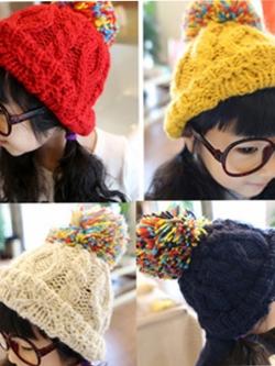 CH115-44 หมวกไหมพรมกันหนาว สีสวย ยืดได้เยอะ สำหรบเด็ก 2-7 ขวบ