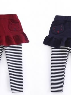 C107-25 กางเกงกระโปรงบุขนกันหนาว ปักลายน่ารัก สำหรับอากาศเย็นสบายๆ size 110-130
