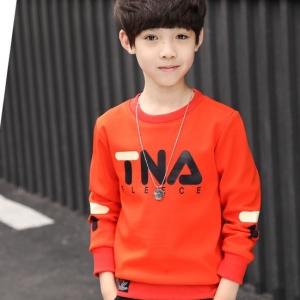 C123-55 เสื้อกันหนาวเด็กบุขนนุ่ม สกรีนลาย สีส้มสวย ใส่อุ่นสบาย size 120-160