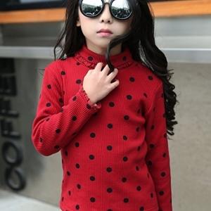 C111-35 เสื้อกันหนาวเด็ก สีแดงลายจุด บุขนกำมะหยี่แบบนุ่ม ผ้านิ่ม งานสวย size 110-160 พร้อมส่ง
