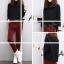 ชุด 2 ชิ้น เสื้อแฟชั่น คอเต่า แขนยาว + กางเกงขายาว ผ้าลูกฟูก สีแดง thumbnail 1