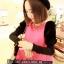 เสื้อแฟชั่น คอกลม แขนยาวตุ๊กตาสีทูโทน ผ้าสำลี สีชมพู
