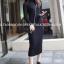 (ภาพจริง)เดรสแฟชั่น คอปีน แขนยาว ผ้ายืด สีดำ thumbnail 1
